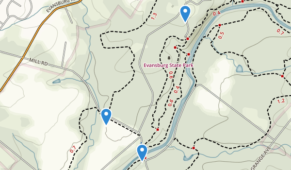 trail locations for Evansburg State Park