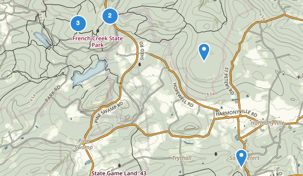 trail locations for French Creek State Park