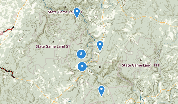 trail locations for Ohiopyle State Park