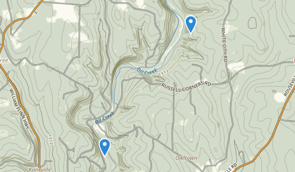 trail locations for Oil Creek State Park