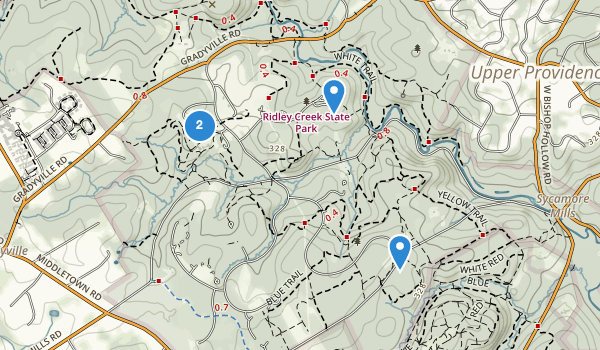 trail locations for Ridley Creek State Park