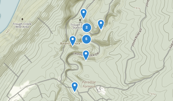 trail locations for Trough Creek State Park