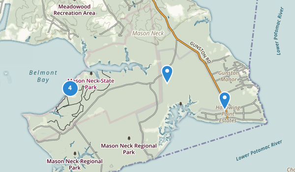 trail locations for Mason Neck State Park