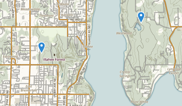 trail locations for Illahee State Park