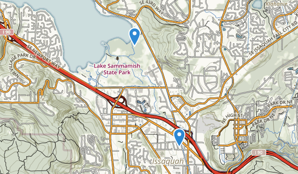 trail locations for Lake Sammamish State Park