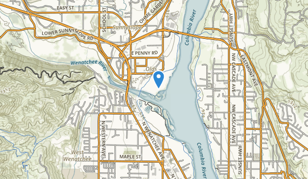 trail locations for Wenatchee Confluence State Park