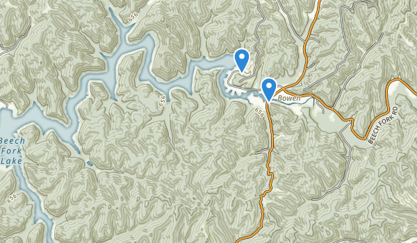 trail locations for Beech Fork State Park
