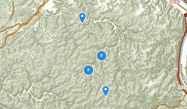 trail locations for Kanawha State Forest
