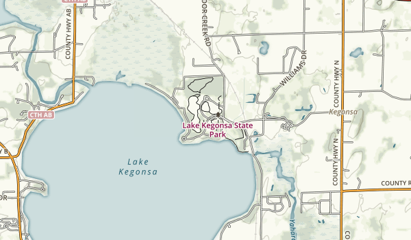 trail locations for Lake Kegonsa State Park
