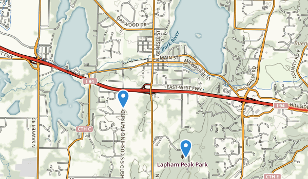 trail locations for Kettle Moraine State ForestLapham Peak Unit