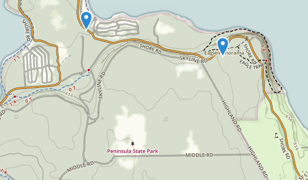 trail locations for Peninsula State Park