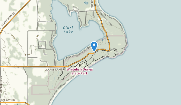 trail locations for Whitefish Dunes State Park