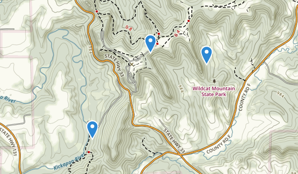 trail locations for Wildcat Mountain State Park