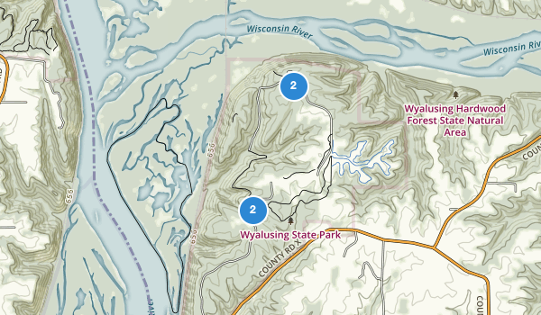 trail locations for Wyalusing State Park