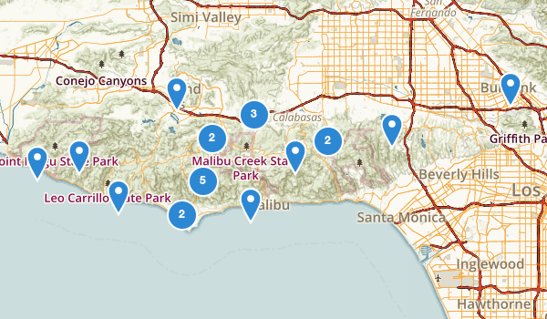 trail locations for Santa Monica Mountains National Recreation Area