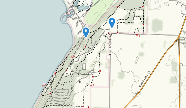 trail locations for High Cliff State Park