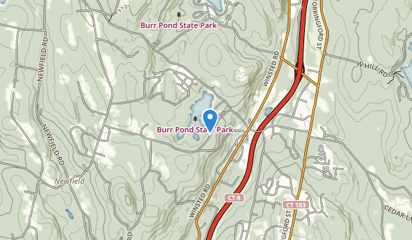trail locations for Burr Pond State Park