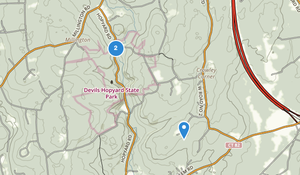 trail locations for Devil's Hopyard State Park