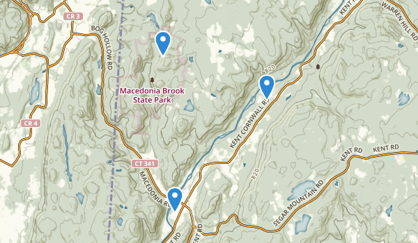 trail locations for Macedonia Brook State Park