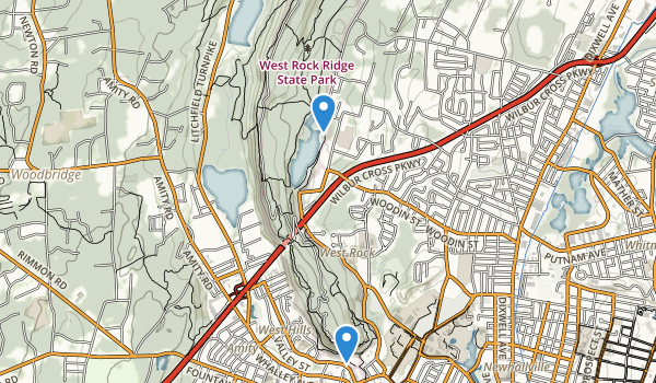 trail locations for West Rock Ridge State Park