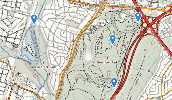 trail locations for Greenbelt Park