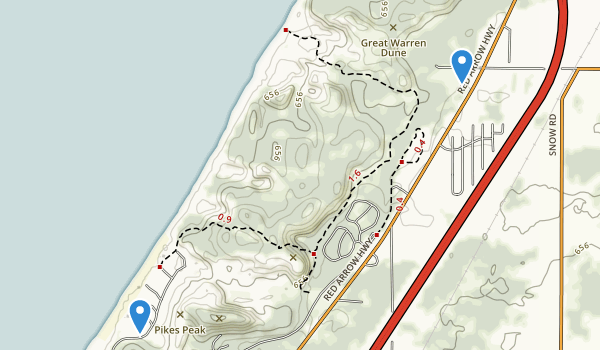 trail locations for Warren Dunes State Park