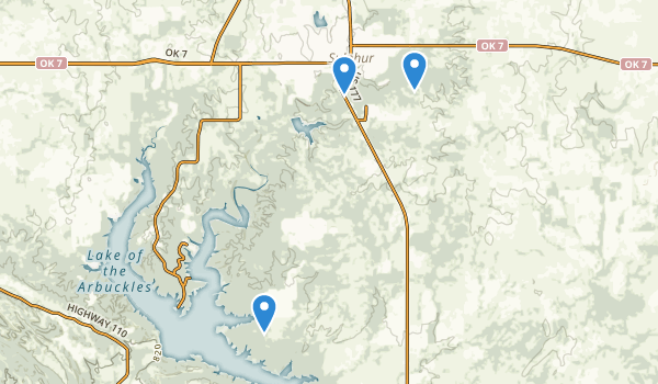 trail locations for Chickasaw National Recreation Area