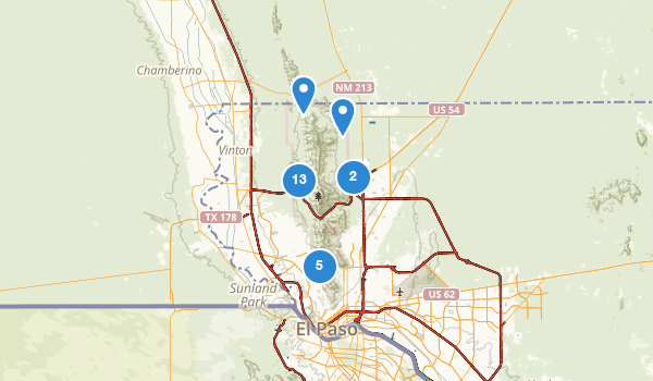 trail locations for Franklin Mountains State Park