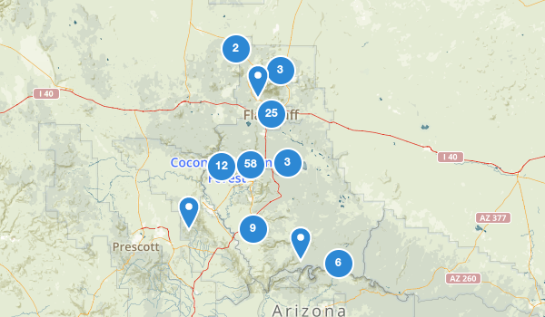 trail locations for Coconino National Forest