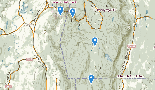 trail locations for Mt Washington State Forest
