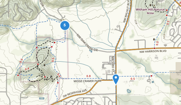 trail locations for Bald Hill Natural Area