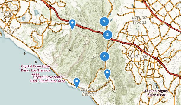 trail locations for Laguna Coast Wilderness Park