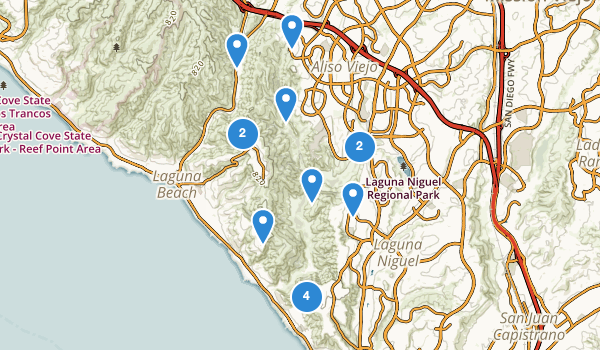 trail locations for Aliso And Wood Canyons Regional Park