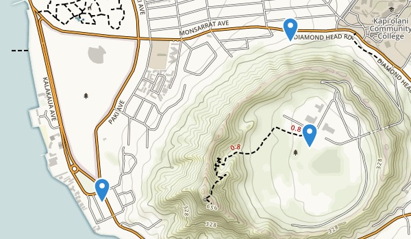 trail locations for Diamond Head Crater Park
