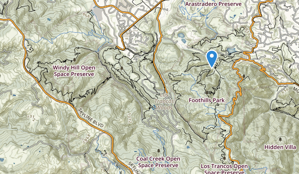 trail locations for Palo Alto Foothills Park