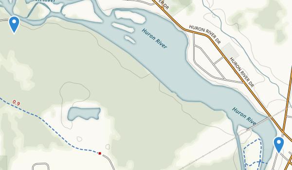 trail locations for Oakwoods Metropark