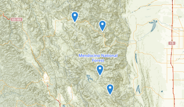 trail locations for Mendocino National Forest