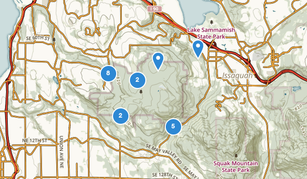 trail locations for Cougar Mountain