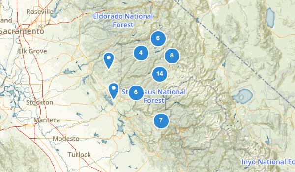 trail locations for Stanislaus National Forest