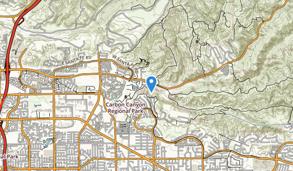 trail locations for Carbon Canyon Regional Park