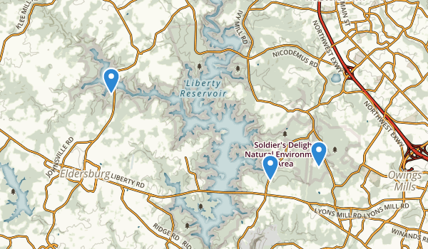 trail locations for Liberty Reservoir Park