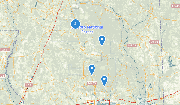 trail locations for De Soto National Forest