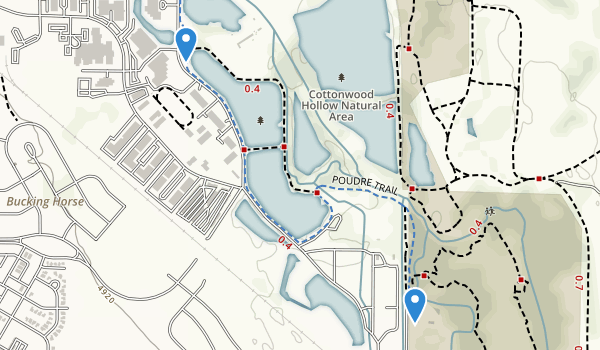trail locations for Cottonwood Hollow Natural Area