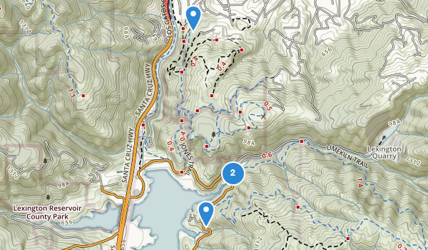 trail locations for Lexington Reservoir County Park