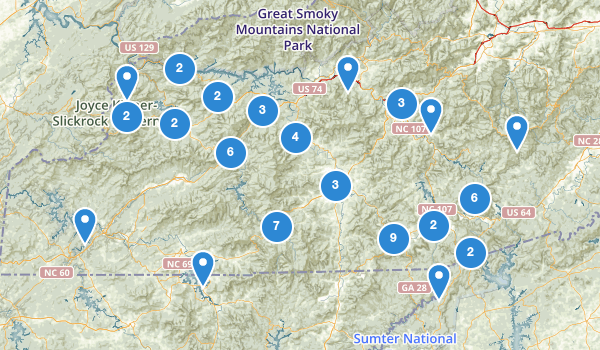trail locations for Nantahala National Forest