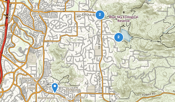 trail locations for Lake Poway Park