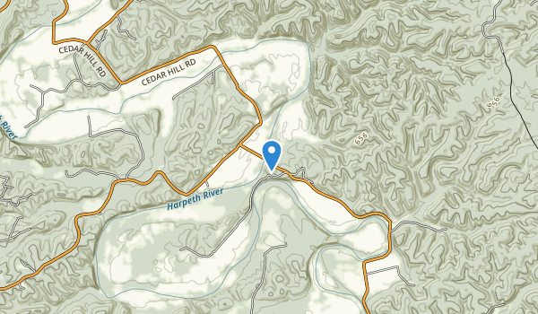 trail locations for Narrows of the Harpeth State Park