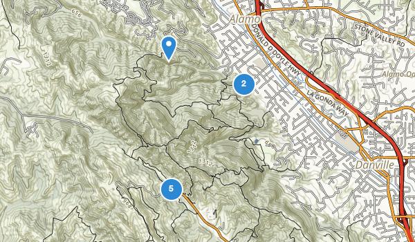 trail locations for Las Trampas Regional Park