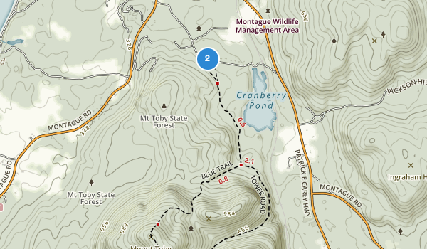 trail locations for Mount Toby State Forest