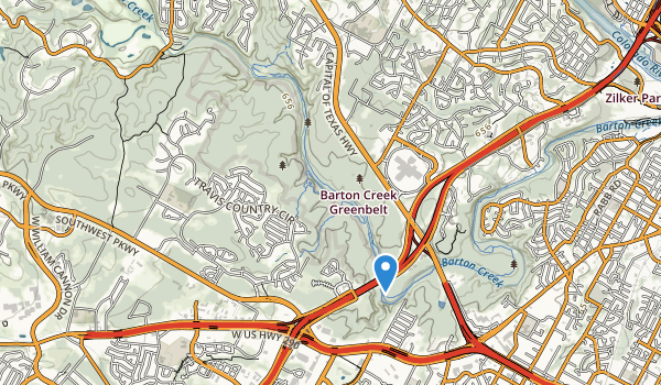 trail locations for Barton Creek Wilderness Park